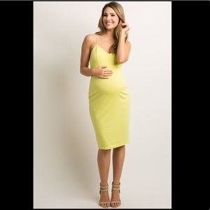 PinkBlush Yellow Sweetheart Fitted Maternity Dress